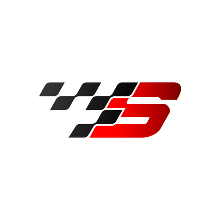 Letter S with racing flag logo Vectores