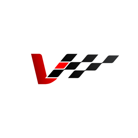 Letter V with racing flag logo