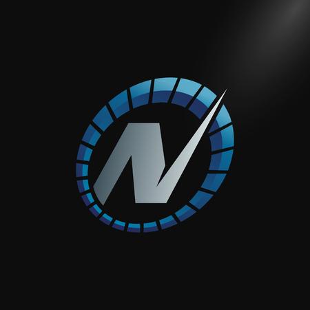 Speed Logo with letter N, letter N tachometer logo Vector Template Design