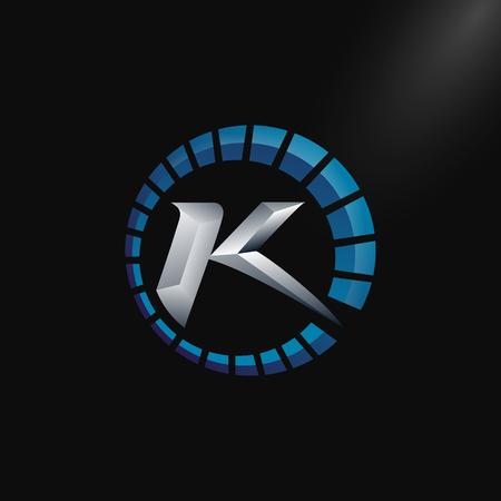 Speed Logo with letter K, letter K tachometer logo Vector Template Design Illustration