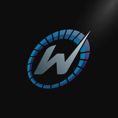 Speed Logo with letter W, letter W tachometer logo Vector Template Design Stock Illustratie