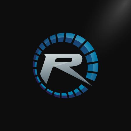 Logotipo de velocidad con letra R, logotipo de tacómetro de letra R Diseño de plantilla vectorial Logos