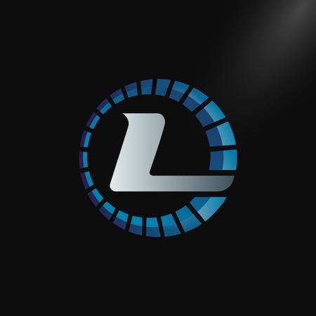 Speed Logo with letter L, letter L tachometer logo Vector Template Design