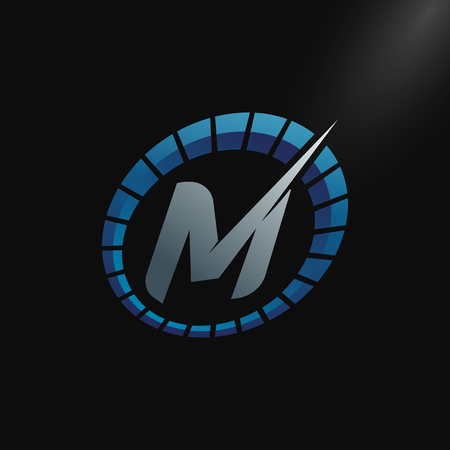 Speed Logo with letter M, letter M tachometer logo Vector Template Design