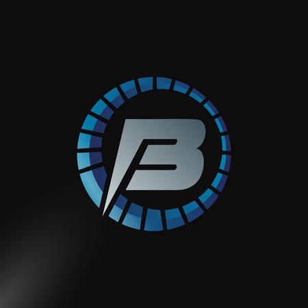 Speed Logo with letter B, letter B tachometer logo Vector Template Design