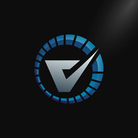 Speed Logo with letter V, letter V tachometer logo Vector Template Design
