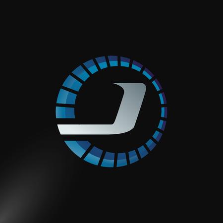 Speed Logo with letter J, letter J tachometer logo Vector Template Design