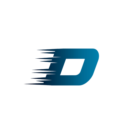 Letter Initial D Speed Logo Design Template