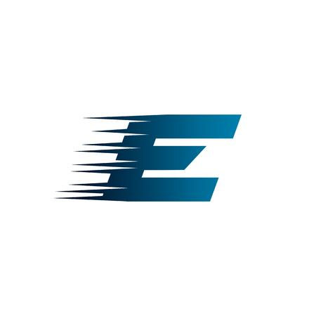 Plantilla de diseño de logotipo letra inicial E velocidad