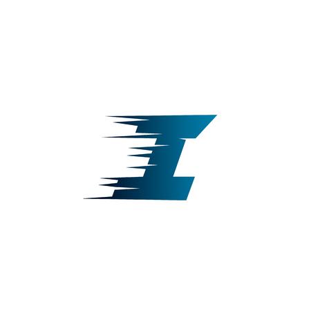 Letter Initial I Speed Logo Design Template Illustration