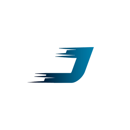 Letter Initial J Speed Logo Design Template
