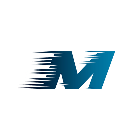 Letter Initial M Speed Logo Design Template