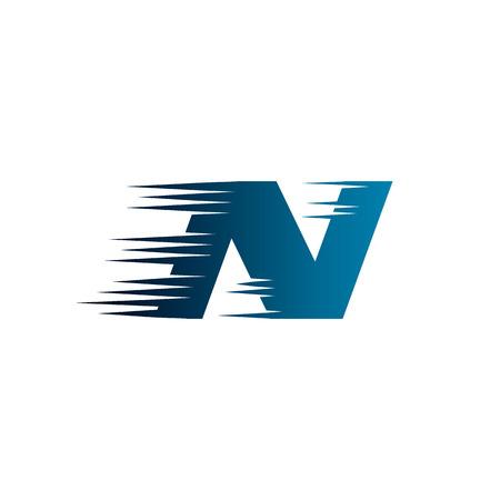 Letter Initial N Speed Logo Design Template