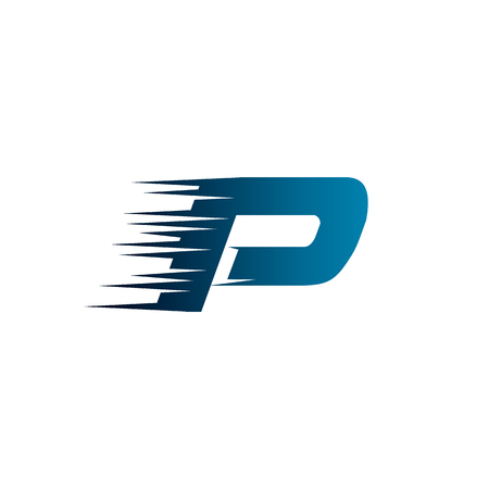 Letter Initial P Speed Logo Design Template  イラスト・ベクター素材