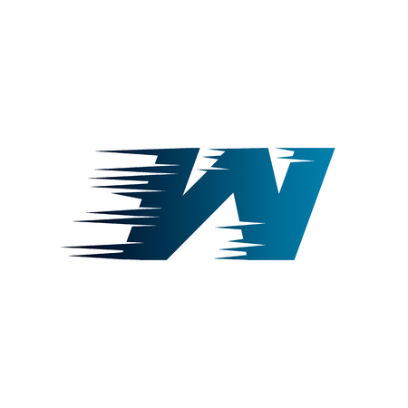 Letter Initial W Speed Logo Design Template Illustration