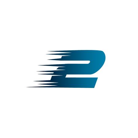 Letter Number 2 Speed Logo Design Template Illustration