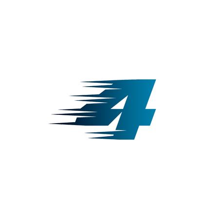 Letter Number 4 Speed Logo Design Template