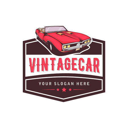 A template of classic or vintage or retro car logo design. vintage style Vettoriali