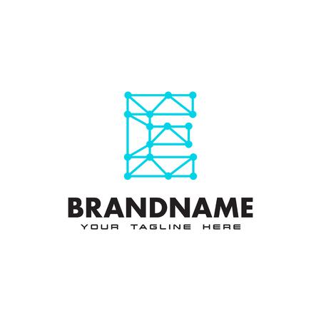 Plantilla de diseño de logotipo de conexión de red de letra E punto Logos