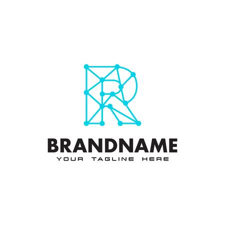 Letter R dot network connection logo Design Template