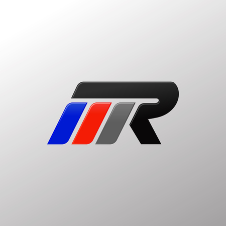 letter MR racing logo design template