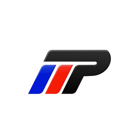 letter MP racing logo design template
