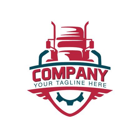 Een sjabloon van Truck Logo, vracht, levering, logistiek