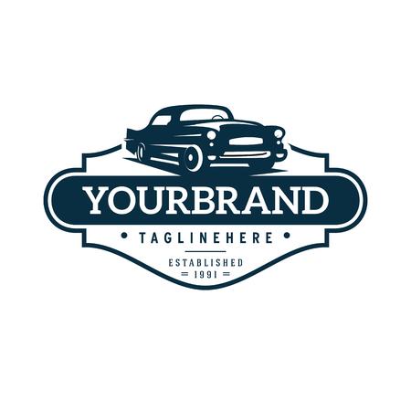ilustracja szablon logo klasycznego samochodu Logo