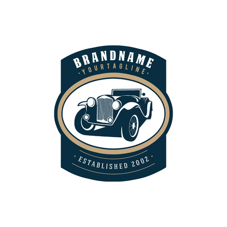 illustration classic car logo template