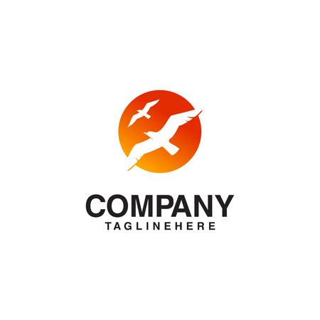 flying bird sun logo  イラスト・ベクター素材