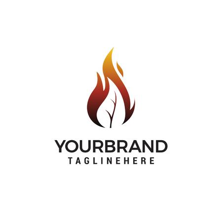 fire leaf flame logo design Ilustração
