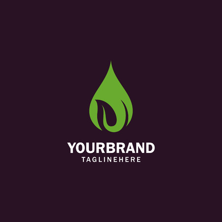 water and leaf vector logo for natural health symbols and clean water company