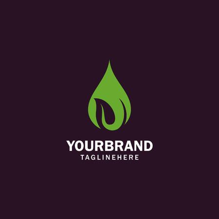 Wasser- und Blattvektorlogo für natürliche Gesundheitssymbole und sauberes Wasserunternehmen Logo