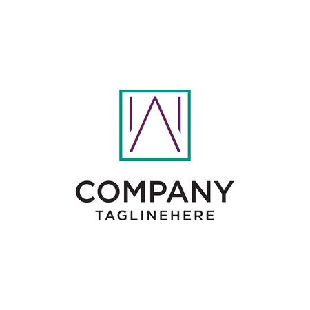 Minimalist W Logo Inside Square Shape Vector
