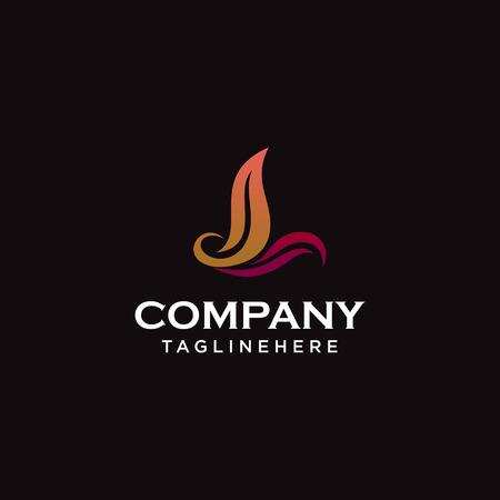 Letter L eco leaves logo icon design template elements