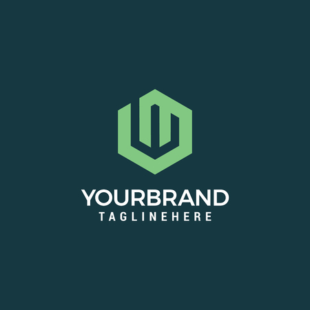 Plantilla de diseño de logotipo abstracto letra W. signo hexagonal creativo. Icono de vector universal.