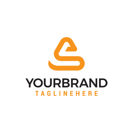 letter s afgeronde driehoek vorm pictogram logo oranjerood