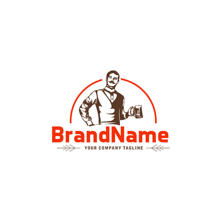 young hipster man holding bottle of craft beer vector label design. Logotype and badge template for breweries, pubs, brasseries, brew houses and beer bars
