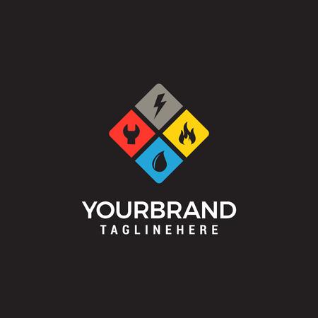 logotipo de servicios para el hogar, fontanería, fuego, electricidad