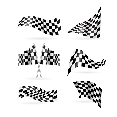 checkered flag vector set