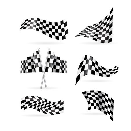 checkered flag vector set