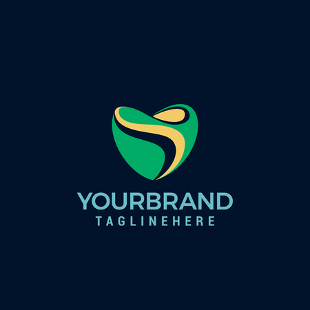 love Landscape logo. Perfect for organic food, eco energy, green business, gardening, farming, solar energy, beauty products, spa, wellness, medical institutions, vegan shops.