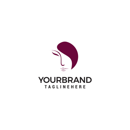 logo de visage de femme sur fond blanc Logo