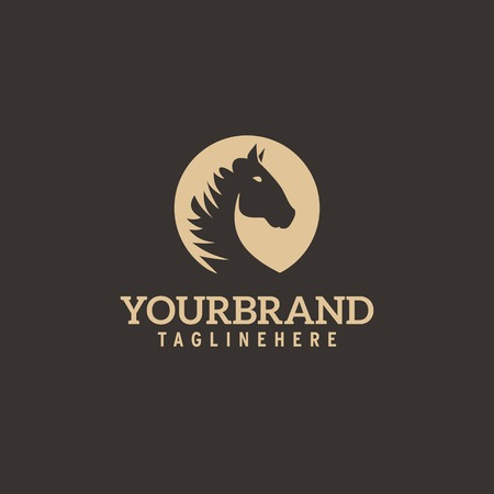 Horse head logo. Simple elegant one color silhouette.