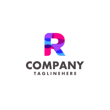 abstract colorful letter R logo design for business company with modern neon color