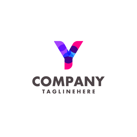 abstract colorful letter Y logo design for business company with modern neon color