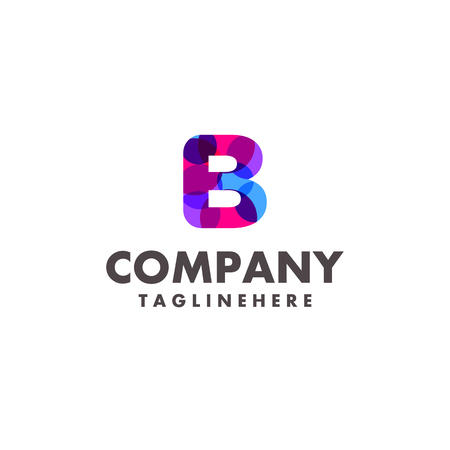abstract colorful letter b logo design for business company with modern neon color Illustration