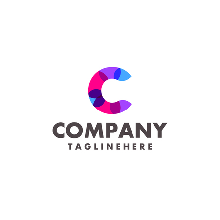 abstract colorful letter c logo design for business company with modern neon color