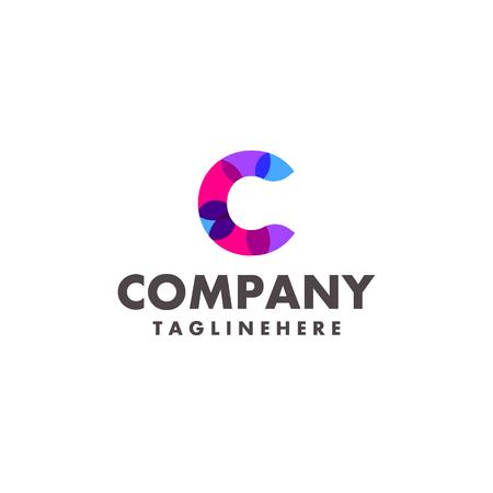 Diseño de logotipo abstracto colorido letra c para empresa comercial con moderno color neón Logos