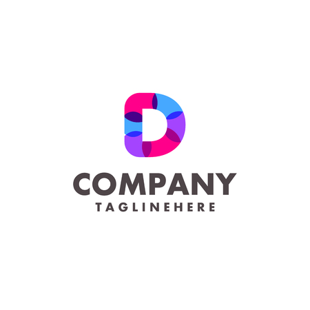 abstract colorful letter D logo design for business company with modern neon color